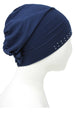 Deresina teen jewelled front beanie for hairloss navy