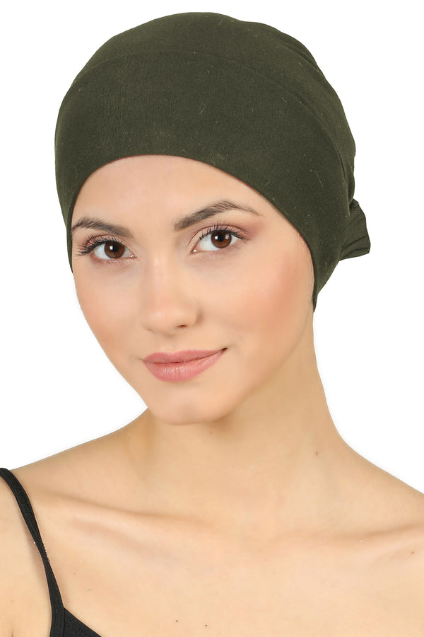 Double Layer Tie Back Cotton Cap - Khaki