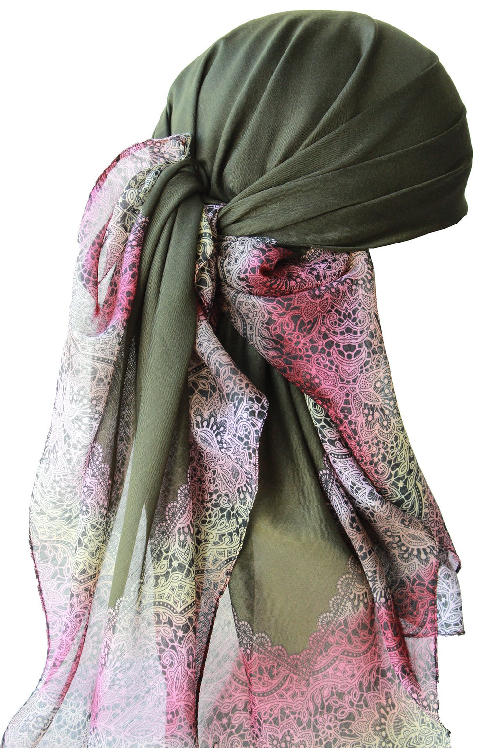 Deresina Everyday square chemo headscarf khaki end lace pattern