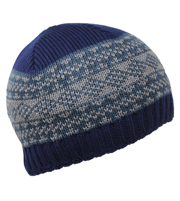 Knitted Beanie for Boys - Navy Grey Pattern