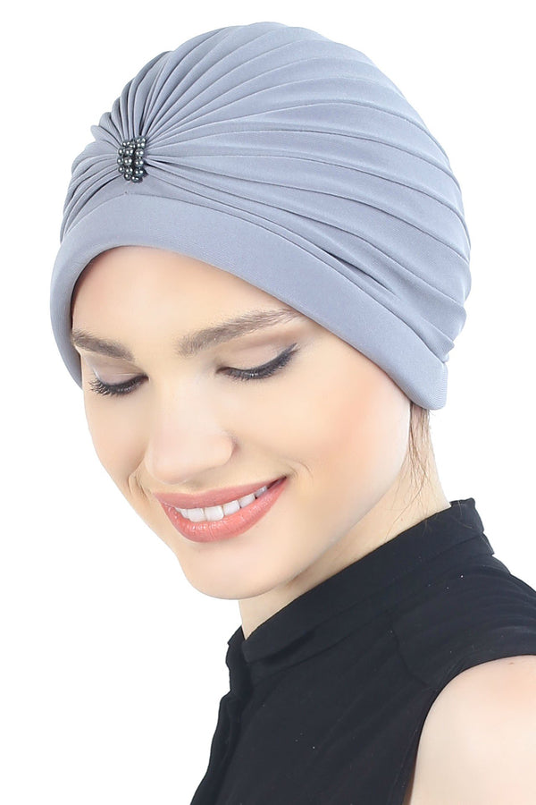Deresina Pearl detail turban for cancer patients light grey