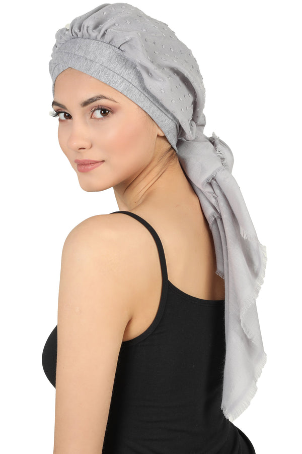 W Front Cap with Attached Scarf (Light Grey Teeny Weeny)