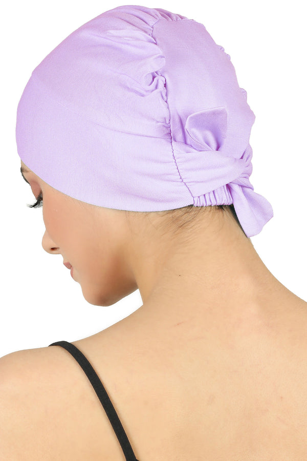Double Layer Tie Back Cotton Cap - Lila