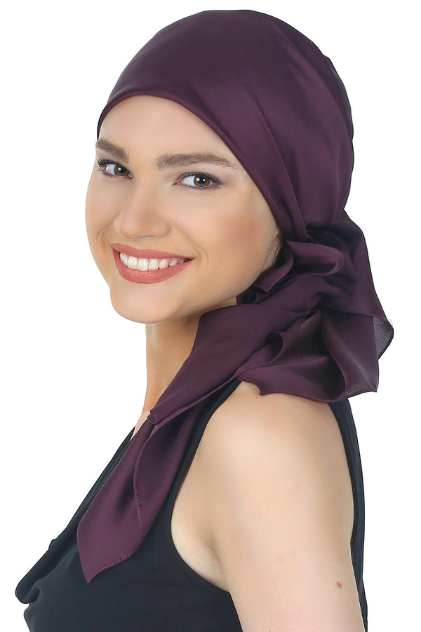 Crepe Satin Luxurious HeadScarf - Maroon