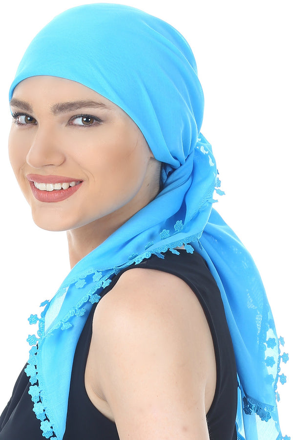 Flower Edges Soft Square Head Scarf  - Maya Blue