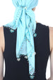 Beaded Square Head Scarf - Maya Blue with Ribbon Flowers