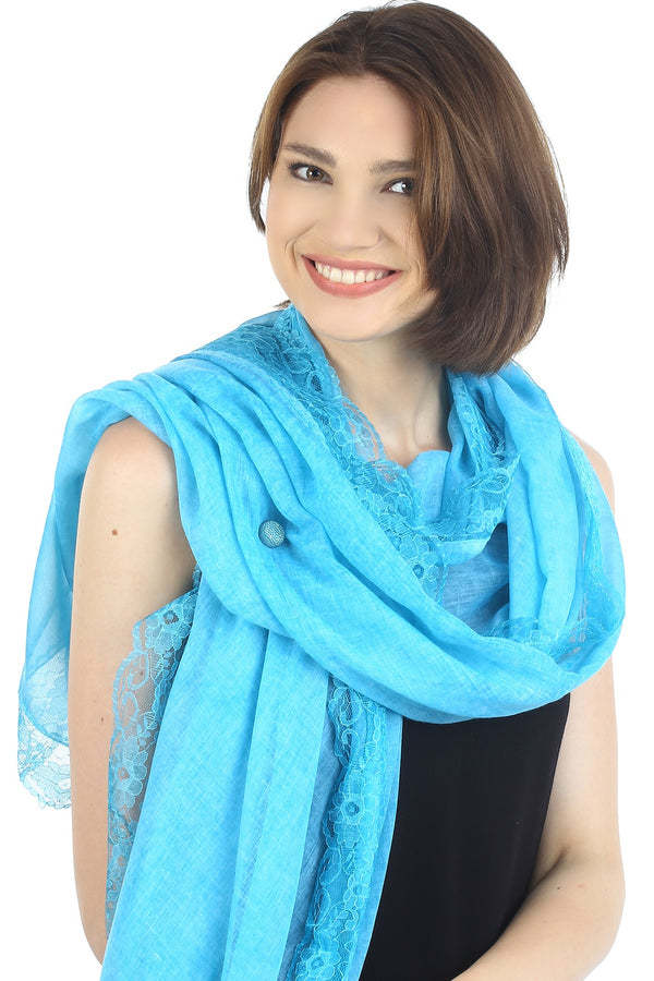 Pure Cotton Oversize Scarf with Lace Edges- Maya Blue