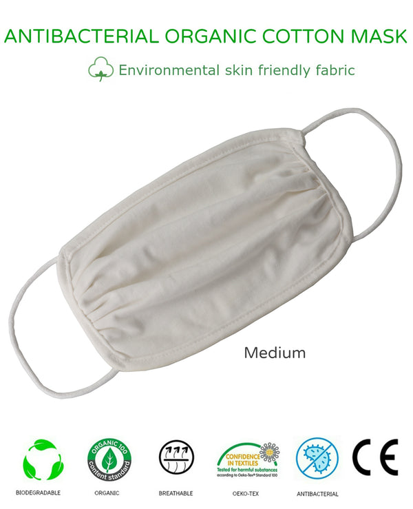 Unisex Washable Reusable 2Ply Antibacterial Organic Cotton Face Mask-MEDIUM