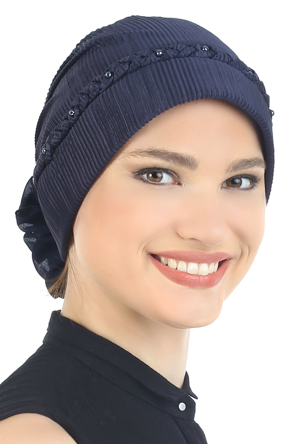Braided Beaded Hat- Midnight Blue