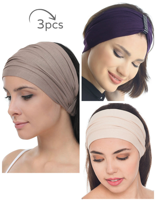 3 Pieces Headband -Grey-Mulberry-Beige