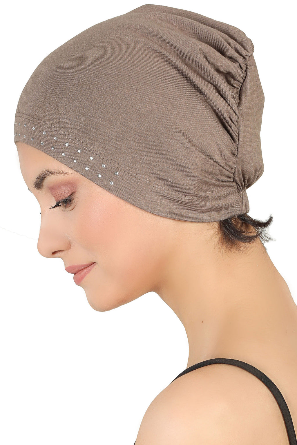 Jewelled Front Essential Cap - Mink