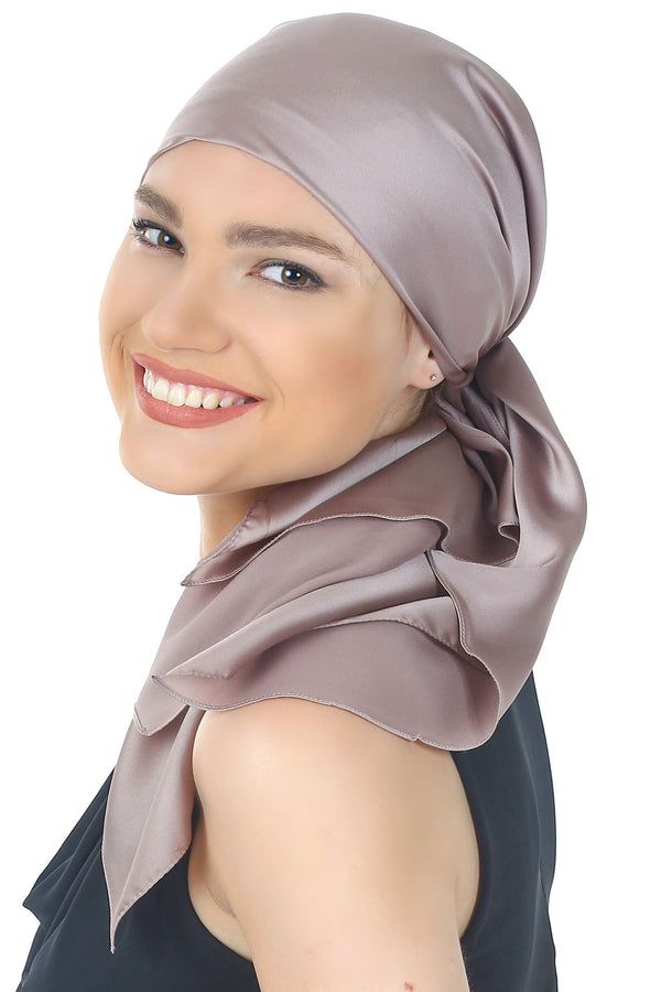 Crepe Satin Luxurious HeadScarf - Deep Beige