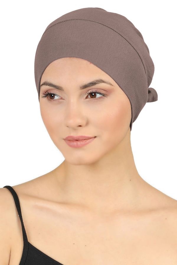 Double Layer Tie Back Cotton Cap - Mink