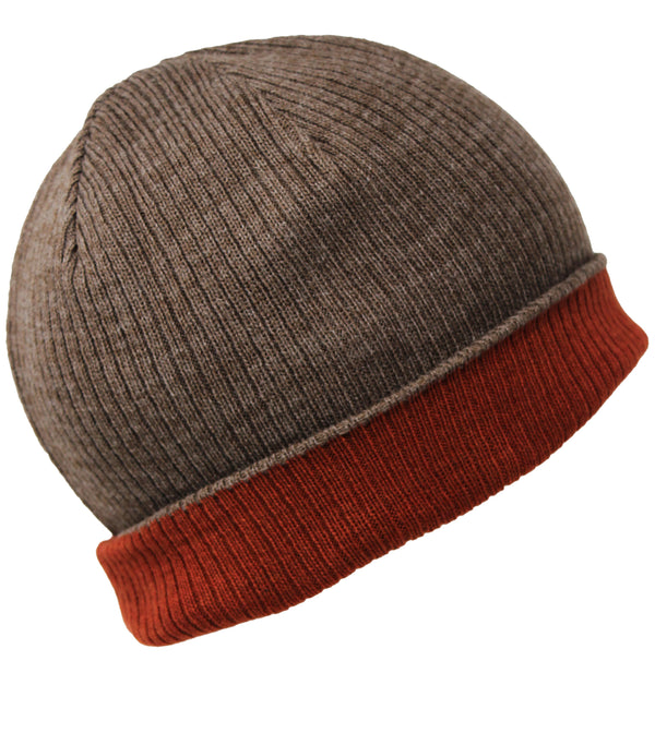 Men Knit Hat - Mocha Brickred Reversible Beanie