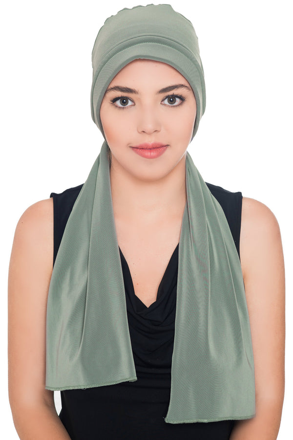 Versatile Headwear with Long Tails - Moss Green