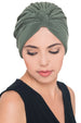 Deresina Pleated w pattern turban for chemo mossgreen