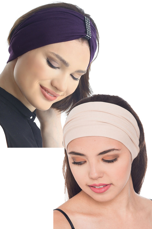 Plain & Jewelled Headband Set of Two - Mulberry/Beige
