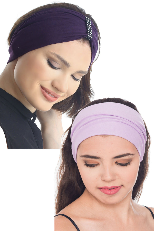 Plain & Jewelled Headband Set of Two-Mulberry/Lila