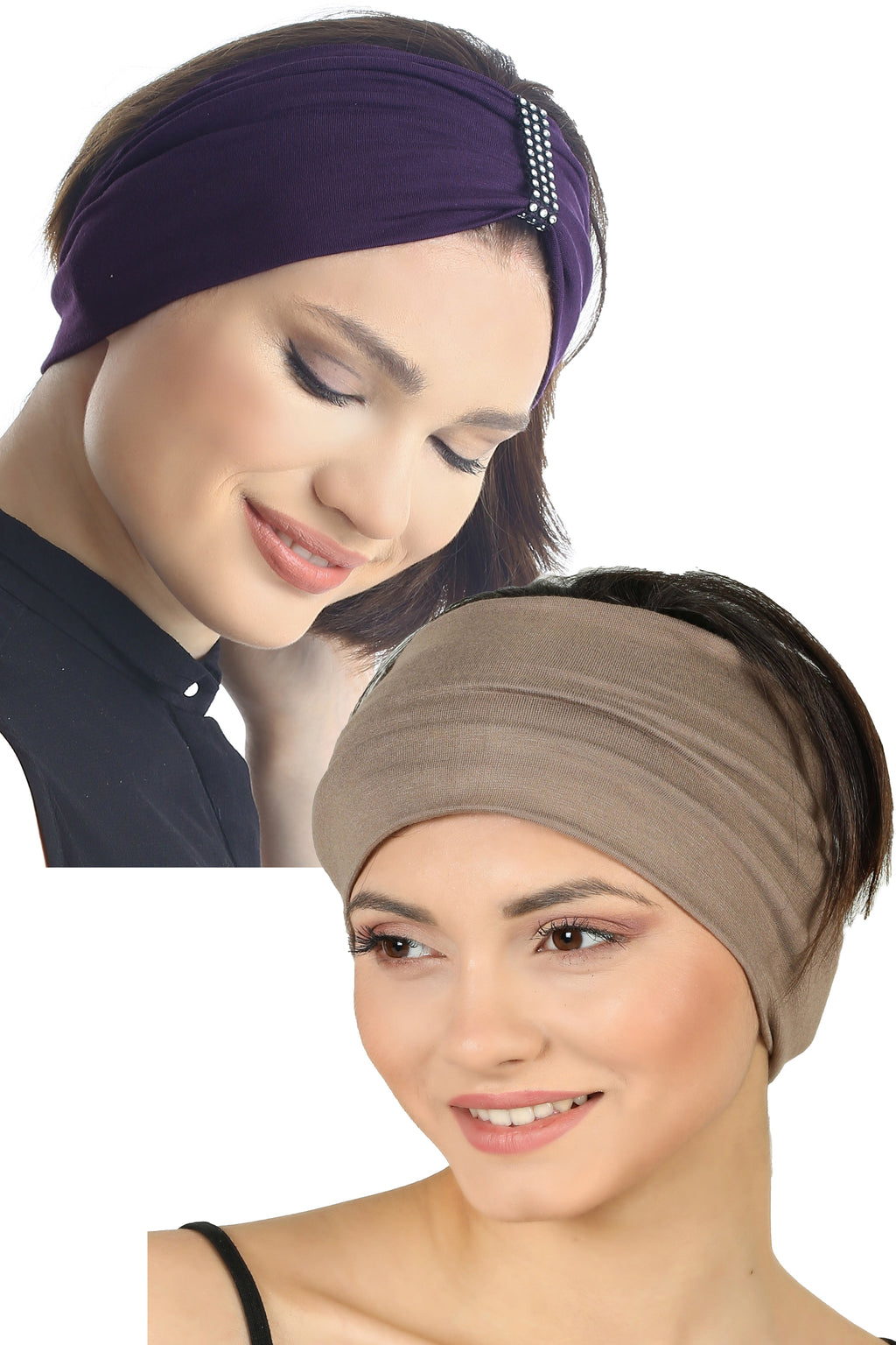 Plain & Jewelled Headband Set of Two-Mulberry/Mink
