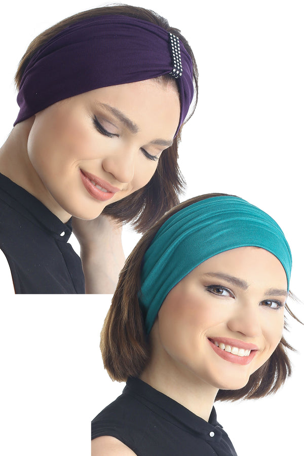 Plain & Jewelled Headband Set of Two - Mulberry/Teal