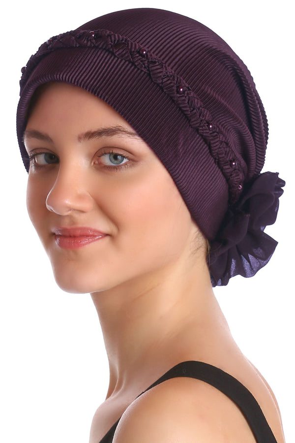 Deresina Braided beaded hat for hairloss for hairloss mulberry