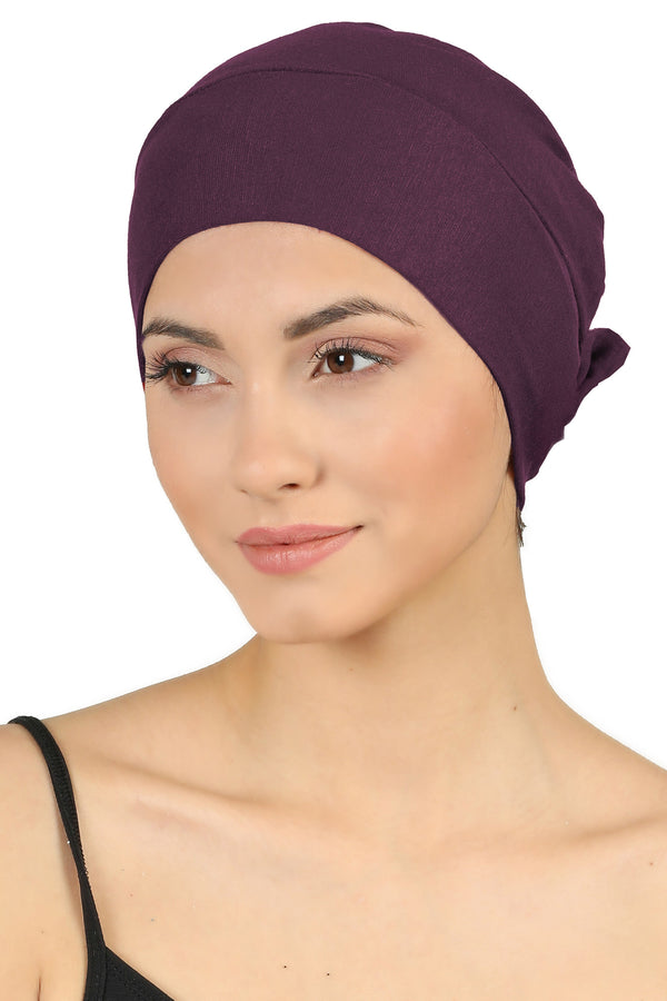 Double Layer Tie Back Cotton Cap - Mulberry