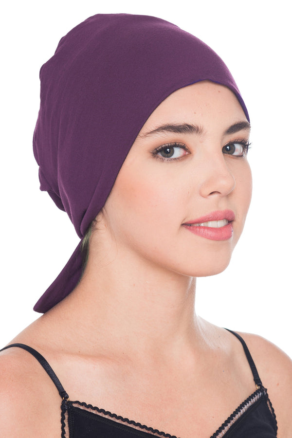 Deresina Comfort tie back cancer cap mulberry