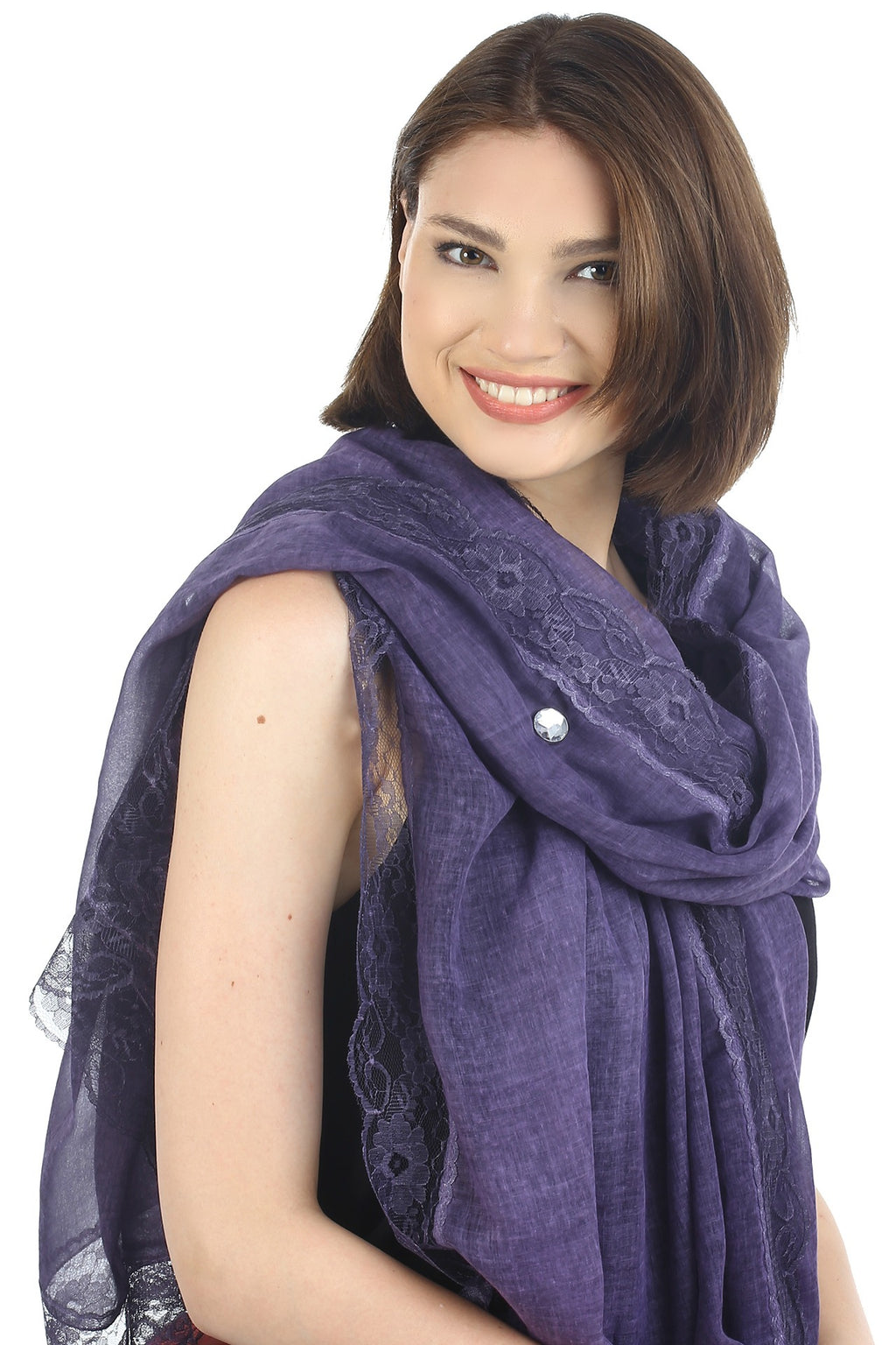 Pure Cotton Oversize Scarf with Lace Edges- Mulberry