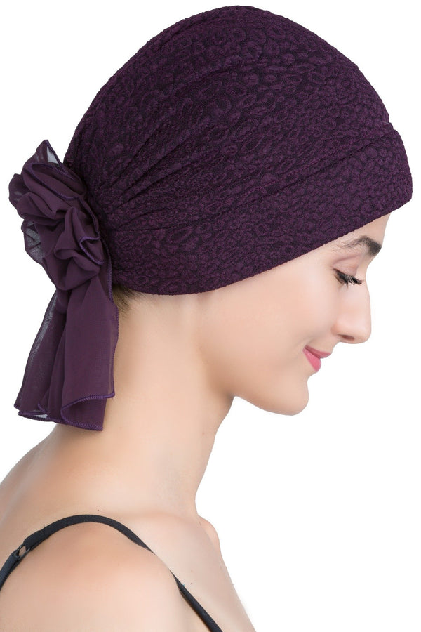 deresina brocade headwear georgette chemo hats mulberry