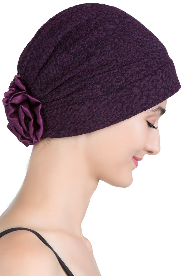 Deresina Brocade chemo headwear with satin rose mulberry