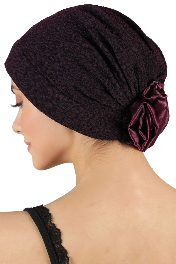 Brocade Headwear with Satin Rose - Padded Front Mulberry