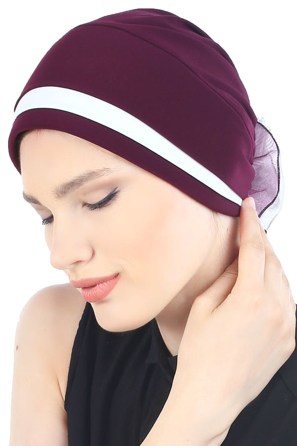 Deresina Padded hat for cancer patients mulberry cream