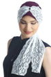 Deresina diamond patterned chemo turban mulberry cream
