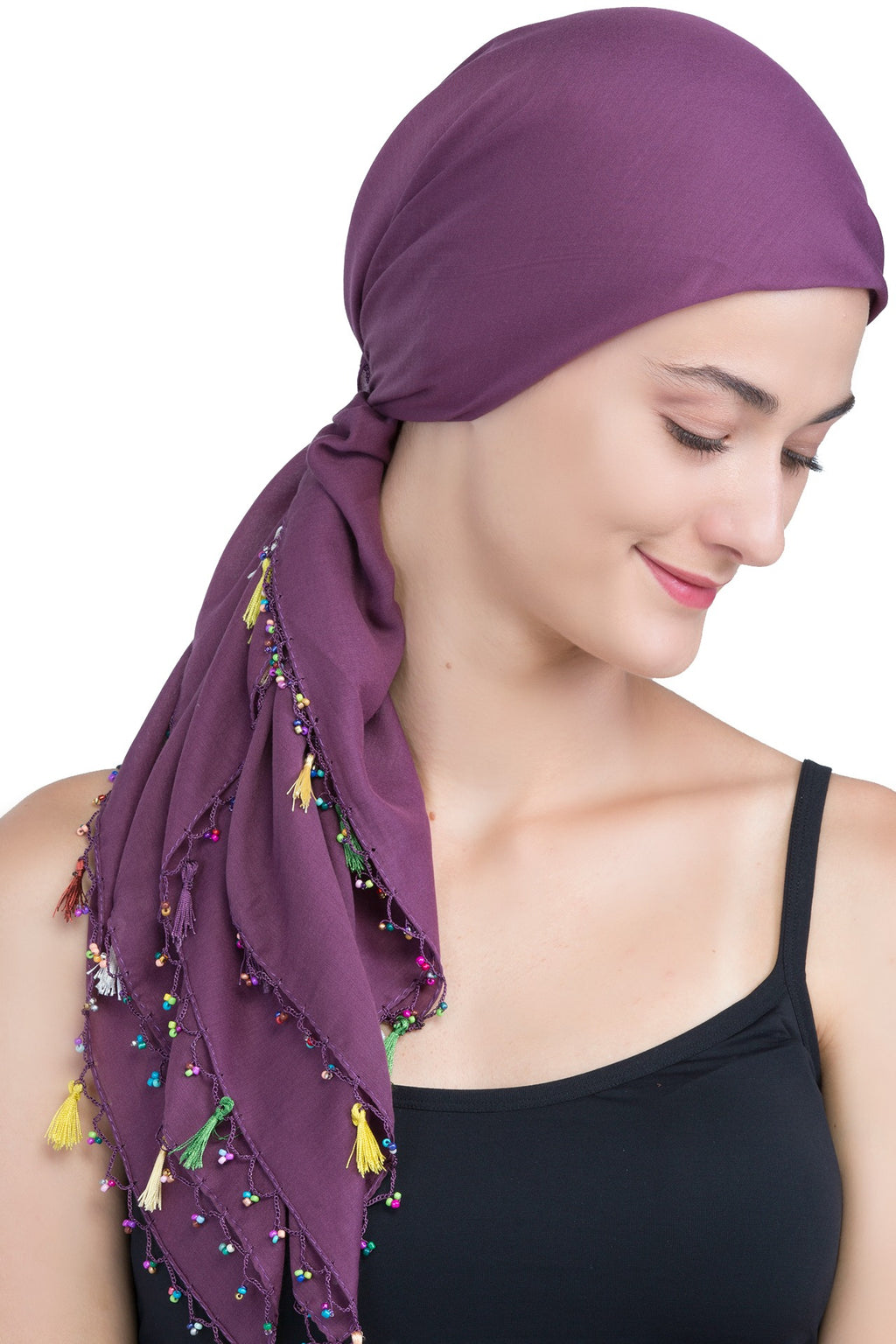 Beaded Square Head Scarf - Mulberry with Tassels