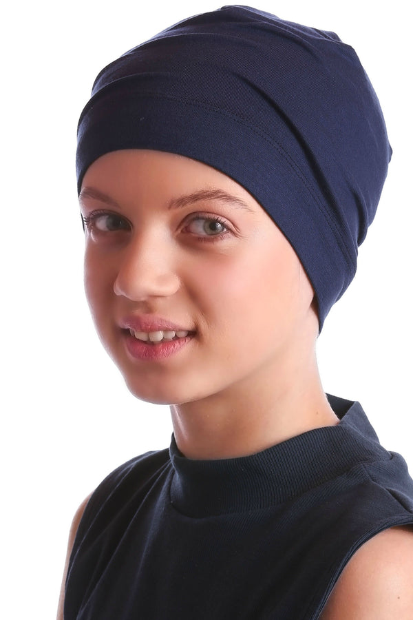 Deresina teen beanie for hairloss navy