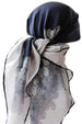 Silver Leaf 100% Silk Scarves for Women (Navy/Cream)