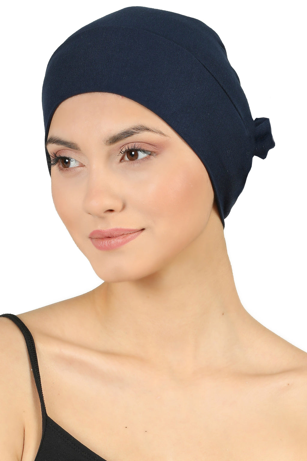 Double Layer Tie Back Cotton Cap - Navy