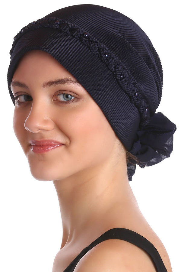 Deresina Braided beaded hat for hairloss for hairloss navy