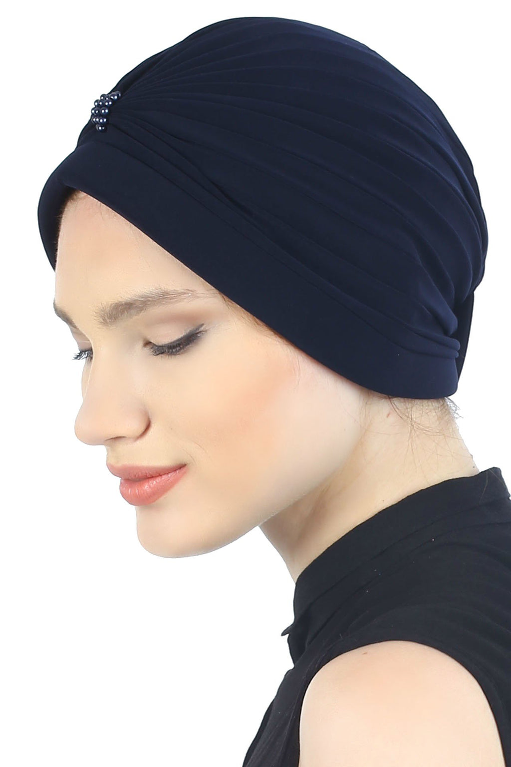 Deresina Pearl detail turban for cancer patients navy