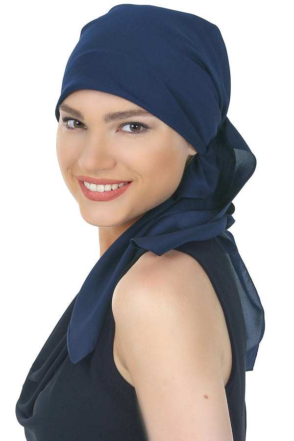 Crepe Satin Luxurious HeadScarf - Deep Navy
