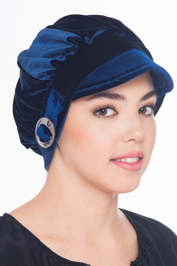 Soft Visor Velour Hat - Navy