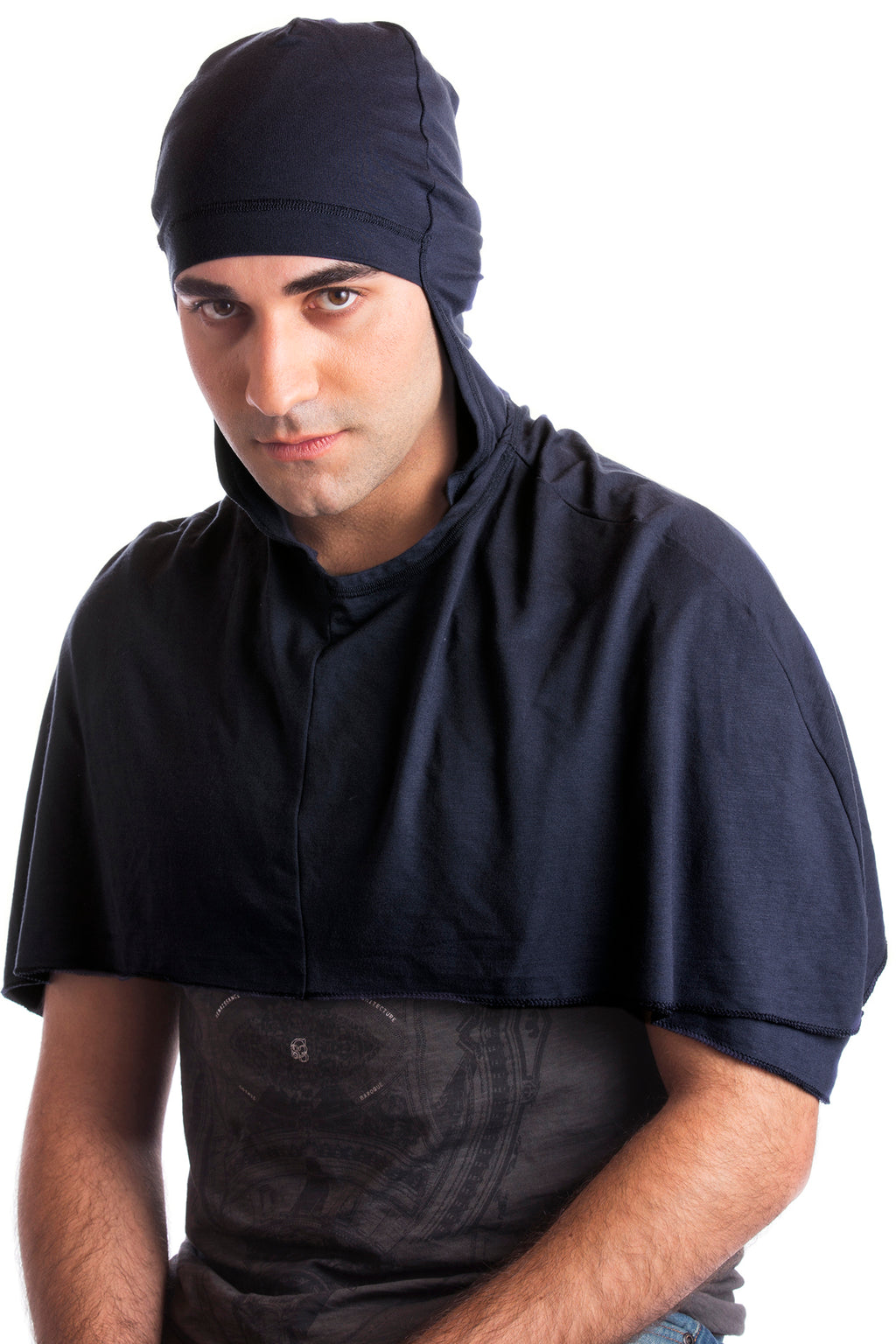 Hooded Cotton Cape Poncho for Men - Navy