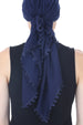 Flower Edges Soft Square Head Scarf  - Navy