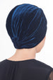Velour  Cross Turban - Navy