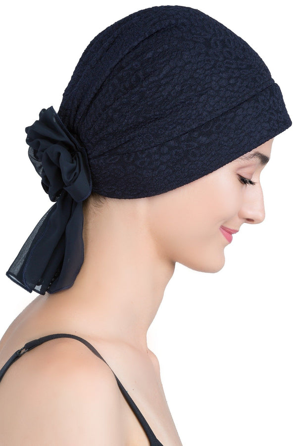 deresina brocade headwear georgette chemo hats navy