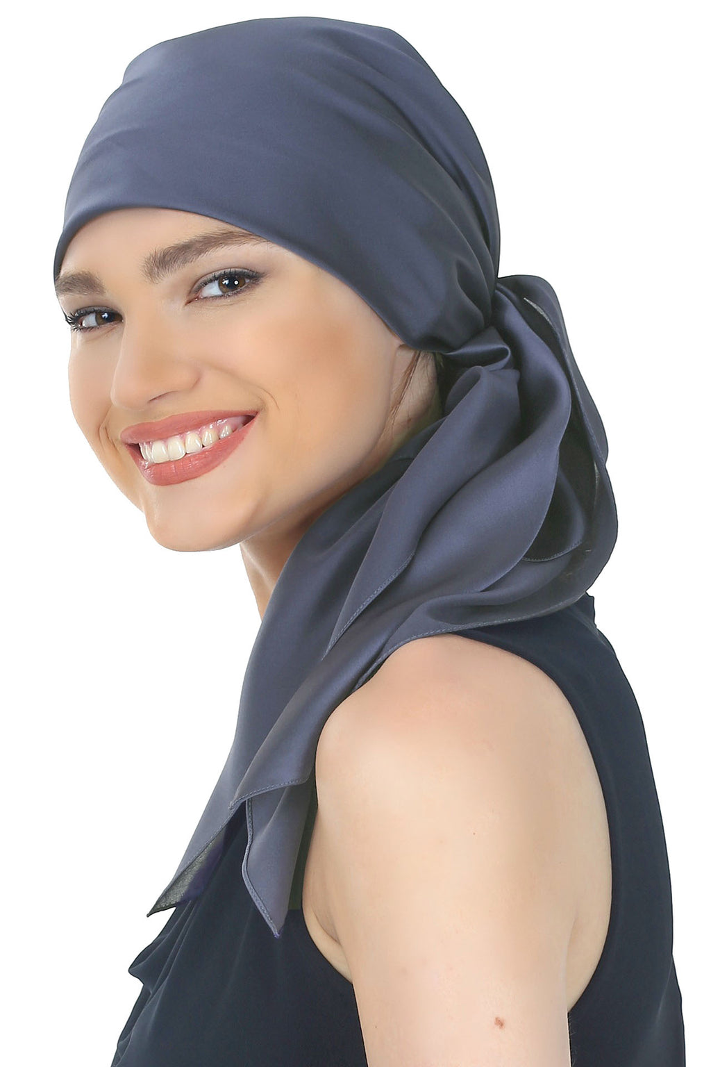 Crepe Satin Luxurious HeadScarf - Navy Blue