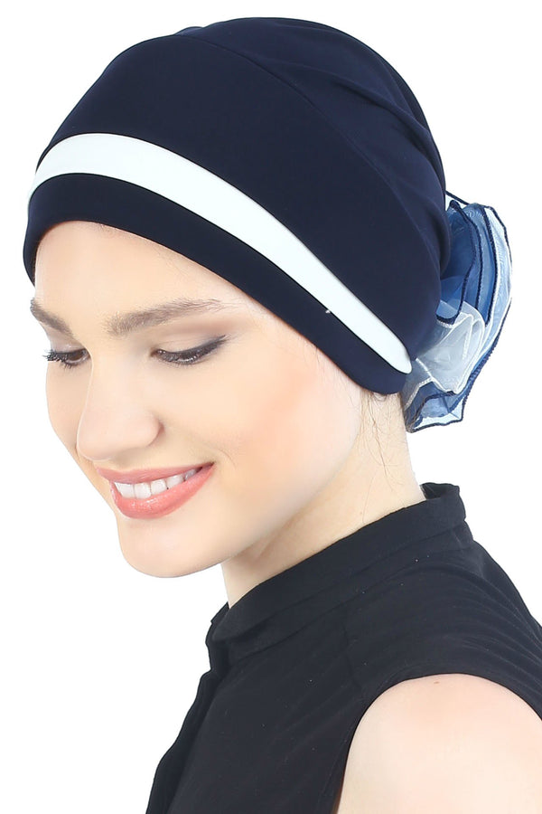 Deresina Padded hat for cancer patients navy cream
