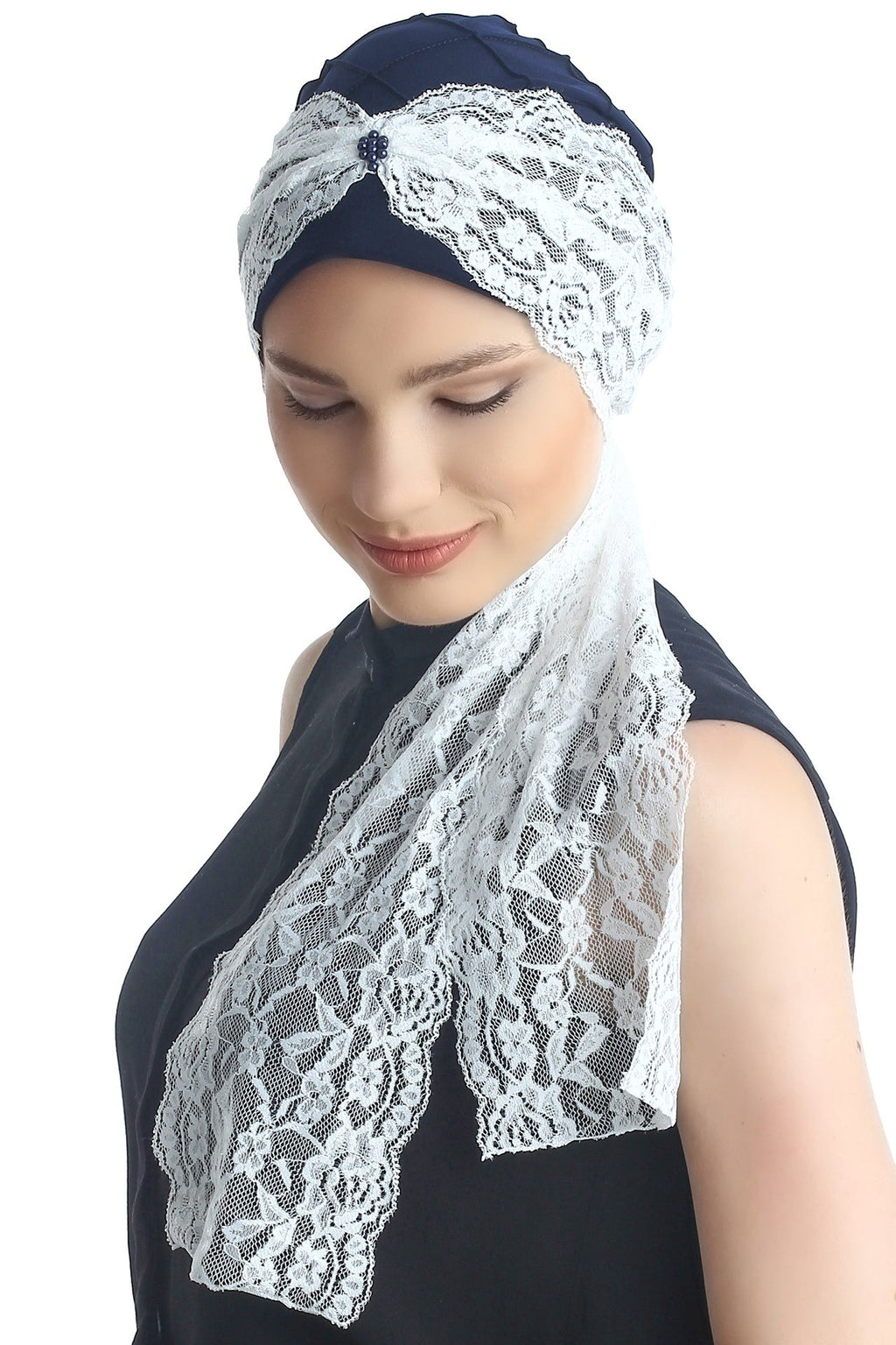 Deresina diamond patterned chemo turban navy cream