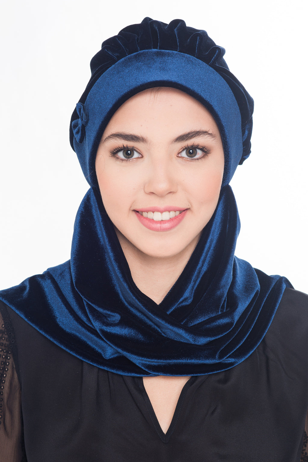 Velour Hat with Attached Scarf & Bow - Navy