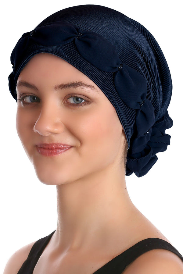 Deresina Shirred  beaded chemo headwear navy navy